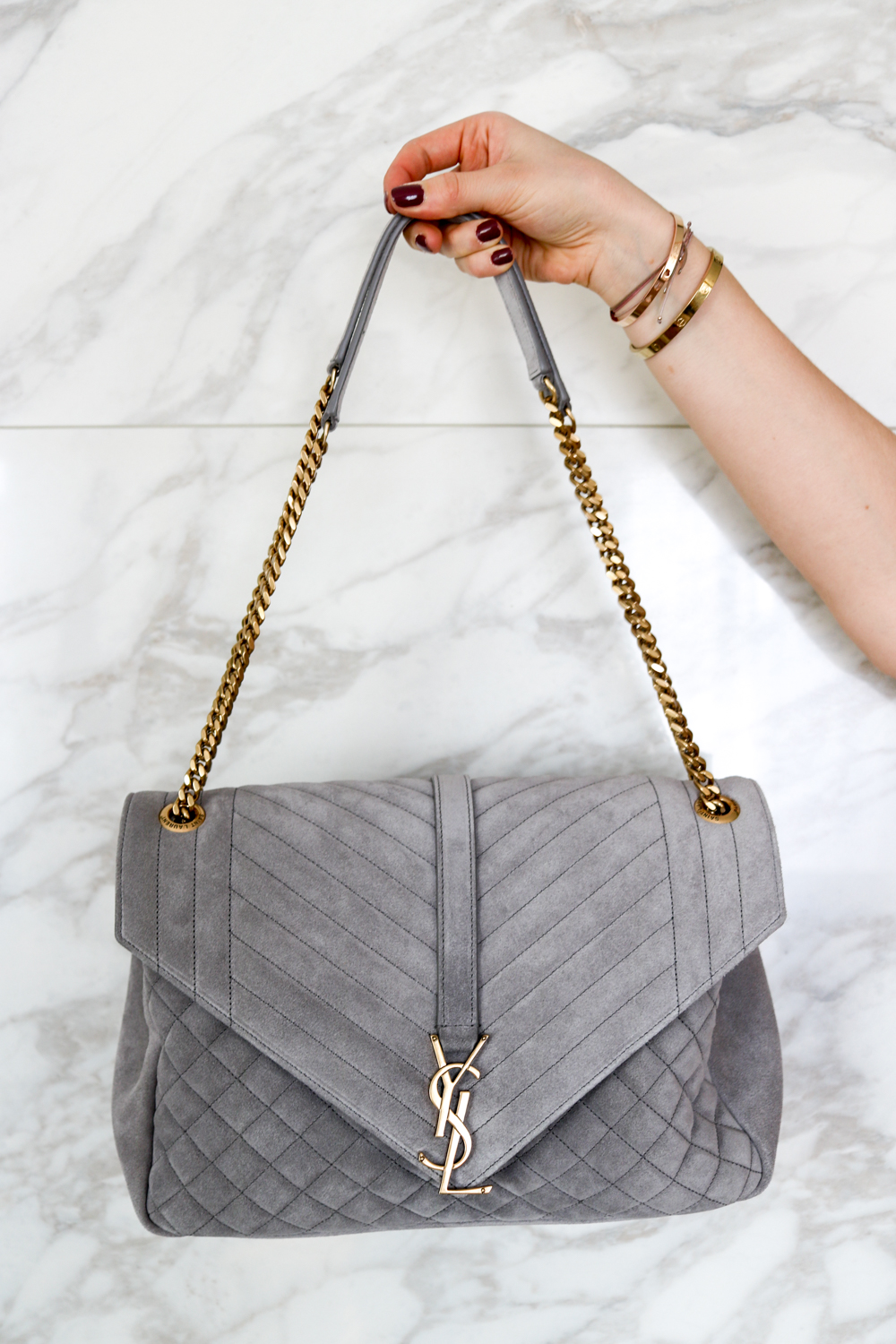 Love At First Sight Ysl Envelope Suede Grey Bits And