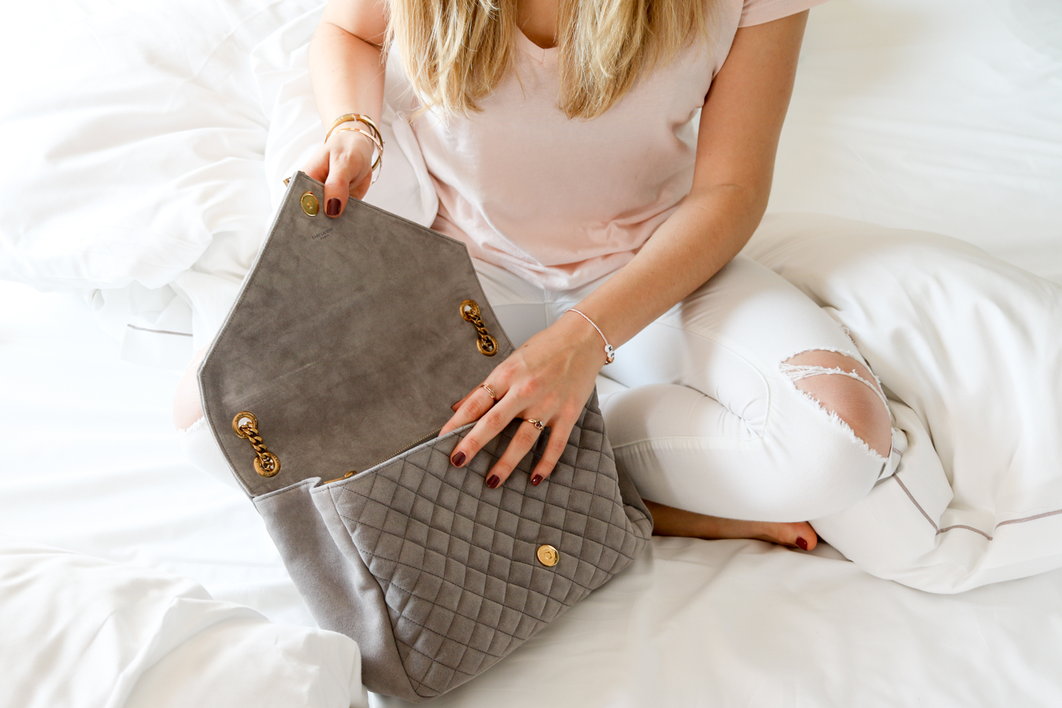 Love At First Sight: YSL Envelope Suede Grey