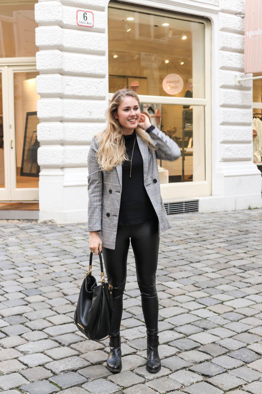 Outfit Karo Blazer Amp Lederleggings Bits And Bobs By Eva