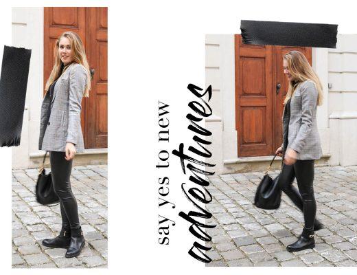 Outfit: Karo Blazer & Lederleggings auf dem österreichischen Blog Bits and Bobs by Eva. Mehr Fashion Looks auf www.bitsandbobsbyeva.com