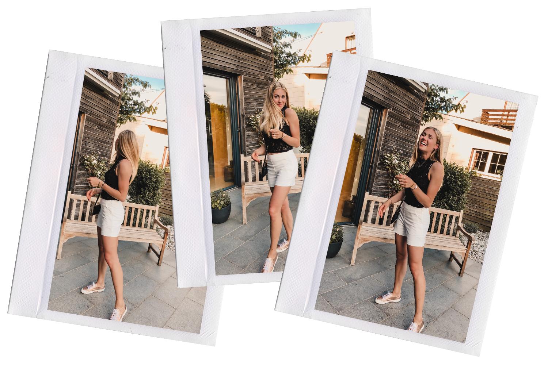 Outfit: Off-white Shorts & Spitzenoberteil